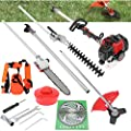 5 in 1 52cc Petrol Hedge Trimmer Chainsaw Brush Pole Saw Cutter Pole Saw, Stroke Knapsack Weeding Machine Set, Garden Tool Included Brush Cutter, Pruner, Strimmer, Hedge Trimmer and Extension Pole