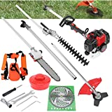 Marguller Petrol Hedge Trimmer Cordless, 5 in 1 52cc Gas String Trimmer Chainsaw Brush Cutter Pole Saw Outdoor Tools Garden Tool Included Brush Cutter, Pruner, Trimmer, Hedge Trimmer, Extension Pole