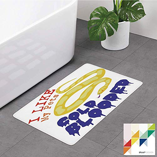№33700 Memory Foam Bath Mat,Reptiles,Majestic Says The Wild Truth Pet Lover Best Friend Illustration Gift Decor,Purple Yellow Red, Non Slip Bathroom Rugs Soft Coral Velvet,Soft Absorbent Shower Entry