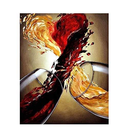 WENJING Kollision von Weingläsern Malen nach Zahlen DIY Wanddekor Leinwand Gemälde Schlafzimmer Dekor Raumdekoration für einzigartige Geschenk-40X50Cm Pcs No Frame