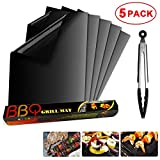 Trongle BBQ Grill Mat Set of 5, Non Stick Reusable Barbecue Grill & Bake Mats For Oven, Gas, Charcoal, Electric Grill, Resistant Up to 500F (260 °C) with Free Tongs