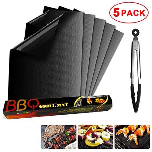 Trongle BBQ Grillmatte 5er Set Antihaft Wiederverwendbare Grill- & Backmatten für Ofen, Gas, Holzkohle, Elektrogrill, beständig bis 260° C mit GRATIS Zange