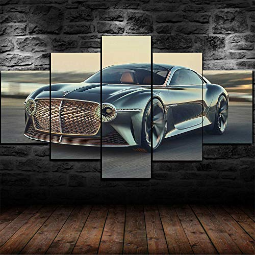 KOPASD 5 Pieces Canvas Wall Art Prints Bentl EXP 100 GT Future Luxury Car Pictures For Home Modern Living Room Decoration