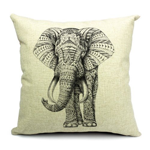 Wildlife Animals Elephant Printed Linen Cushion Cover