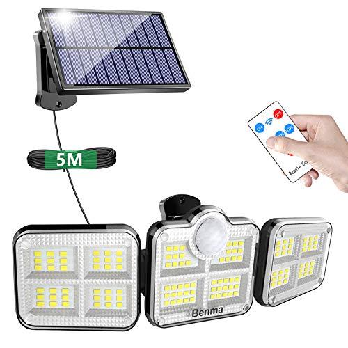 BENMA Solarlampen für Außen mit Bewegungssensor, 122 LED Solarleuchten mit Fernbedienung, 360° Drehbar Solar Wandleuchte, IP65 Wasserdicht, LED Außenwandleuchten mit 16.5ft Kabel [Energieklasse A+++]