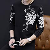 T Shirts Manga Larga,Rose Imprimir Hombres Casual Muelle Destensado Cuello Redondo Negro,Deportes Jersey Camiseta Slim Quick-Drying Estirar Negocios Ropa Transpirable Tejido Sweater Workwear Chaleco,