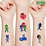 UJGTAR PJ Masks Party Supplies Favors Gift for Kids, 16 Sheets Temporary Tattoos Skin Stickers, PJ Masks Birthday Decorations for Boys Girls Kids School Supplies