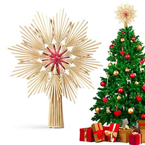 O-Kinee Weihnachtsbaumspitze Stern aus Stroh, Christbaumspitze aus natürlichem Material, Groß Strohstern-Spitze für den Weihnachtsbaum