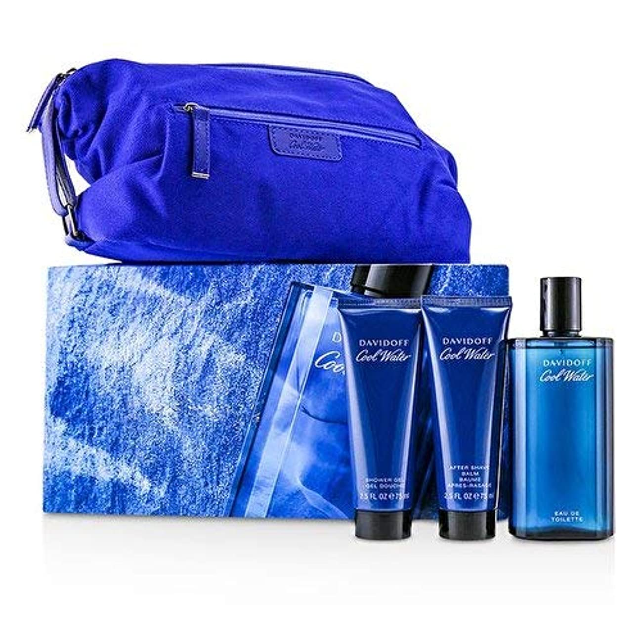 怠けたジャベスウィルソン暴力ダビドフ Coolwater Coffret: Eau De Toilette Spray 125ml/4.2oz + After Shave Balm 75ml/2.5oz + Shower Gel 75ml/2.5oz + Navy Toilet Bag 3pcs+Bag並行輸入品