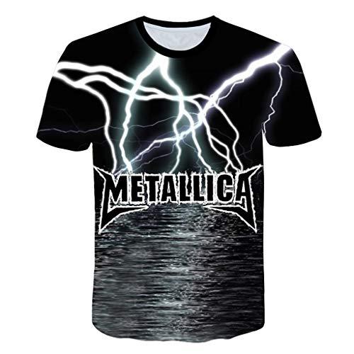 BZPOVB T-Shirts Frescos de Moda Unisex de Manga Corta de Camisas 3D Creativo Impreso Metallica Roca Gráficos Manera de La Personalidad Camisetas (Color : Multi-Colored, Size : XXXL)