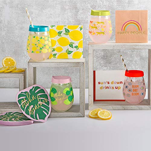 X/&O Paper Goods TW4-20872 X/&O Paper Goods Pink Flamingo Drink Beverage Cocktail Napkins 20pc 5.5 x 5.5