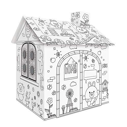 Bricolaje Cartón grande para colorear Artesanías creativas Proyecto Casa de juego Montar y pintar juguetes educativos 2.2 pies de altura para niños Edad 2,3,4,5,6,7,8