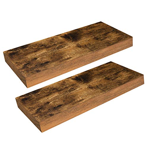 VASAGLE Wall Shelves Set of 3, Wooden Floating Shelves 15-Inch Long, with Front Edge, for Framed Pictures, Spice Jars, Decors, Rustic Brown ULWS037X01