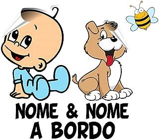 Bimbo a bordo adesivo auto. adesivo bimbo e cane a bordo con nome adesivo bebè per auto. Applicazione esterna