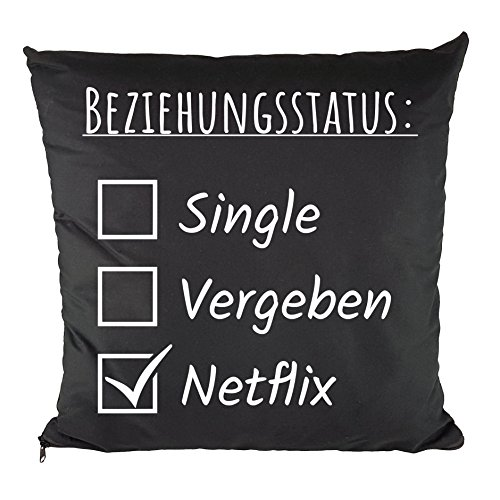 Nukular® Kissen inkl. Füllung (Beziehungsstatus Netflix) - 37cm x 37cm - 100% Baumwolle - Dekokissen - Geschenkidee