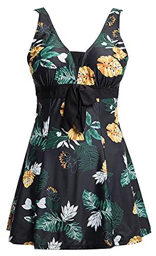 Ecupper Damen Badekleid Blumen Muster Gepolstert Badeanzug mit Shorts Bademode Große, EU 64-66=Tag 5XL, Schwarz Blumen