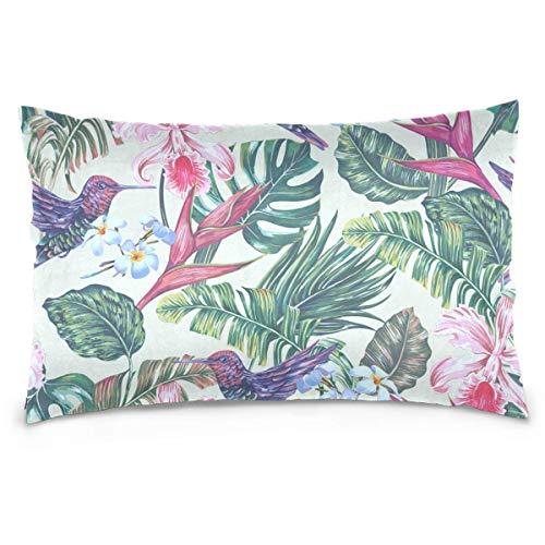 jonycm Fundas De Almohada De Tiro Vintage Leaves Jungle Floral Tropical Hummingbird Flowers Palm Botanical Throw Fundas De Almohada Decoraciones De Almohadas Regalo Duradero 60X40Cm Mode