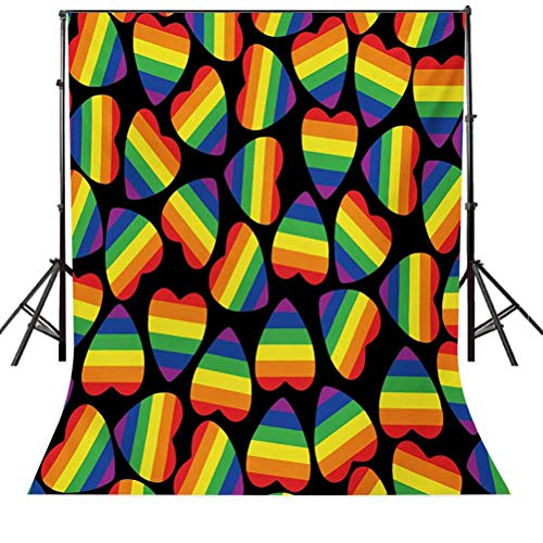 8x10 FT Backdrop Photographers,Rainbow Colored Striped Heart Shapes on Black Backdrop Gay Lesbian Love Parade Print Background for Photography Kids Adult Photo Booth Video Shoot Vinyl Studio Props
