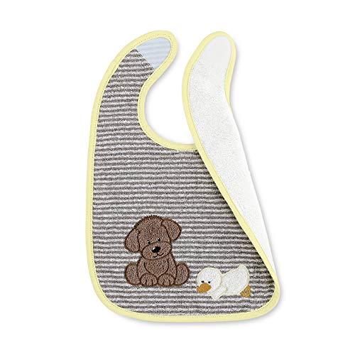 Sterntaler Bavoir en Plastique avec Velcro Hanno le Chien, Taille : 26 x 38 cm, Jaune/Gris