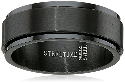 Amazon CollectionMen's Stainless Steel Black IP Spinner Ring, Size 12