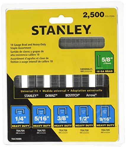 Stanley Tools TRA700BN Surtido de grapas y brad de alta resistencia de 2,500 piezas/caja