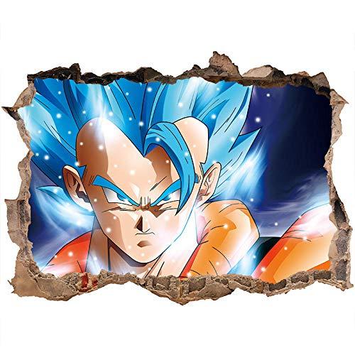 3D Pegatina de Pared Dragon Ball Tatuajes de Pared Tatuajes de Pared Súper Saiyan Goku Vinilos de Pared Dragon Ball Z,Etiqueta para la decoración de la habitación de los niños-60*90CM-A_40*60CM
