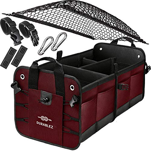 DURABLEZ Trunk Organizer with Covering Net, Attachable Non-Slip Pads, and Stainless Hooks, Black
