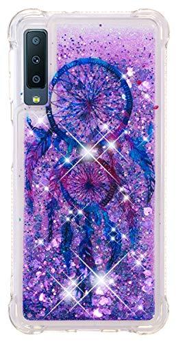 SHUNDA Galaxy A7 (2018) Funda, Bling Glitter Sparkle Caso Flexible Silicona Shock Absorción TPU Transparente Fluir Líquido Flotante Cover para Samsung Galaxy A7 (2018), Samsung Galaxy A7 (2018), Purple wind chimes