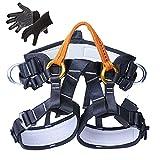 KLLKR Arnés de Escalada Cinturón de Seguridad de Medio Cuerpo para Escalada en Roca para montañismo Rescate de Incendios Espeleología de Nivel Superior Rappel(Color:Orange)