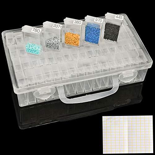 ARTDOT Caja Accesorios Diamond 64 Compartimentos Extraíble Diamante Bordado Caja para DIY, Uñas, Joyas, Bricolaje, Manualidades, 5D Diamond Painting y Cross Stitch