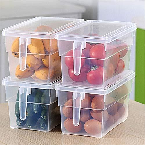 no-branded Refrigerador Organizador Bins Caja de plástico con Tapa refrigerador de Cocina Fresca Ordenar Organizador Huevos Frutas Verduras envase de alimento del congelador ZHQHYQHHX