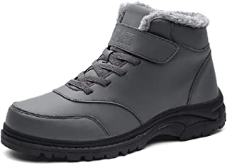 JIANFEI LIANG Men's Ankle Boot Sports Shoes Round Toe Lace up Synthetic Leather Fleece Lined Warm Short Tube Hook&loop Safety Boots for the Elderly Walking Non-slip (Color : Gray, Size : 43 EU)