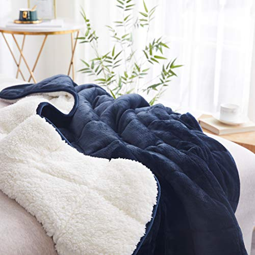 """Sherpa Weighted Throw Blanket for Adults & Kids (Navy/White, 7lbs 48x60"""") 