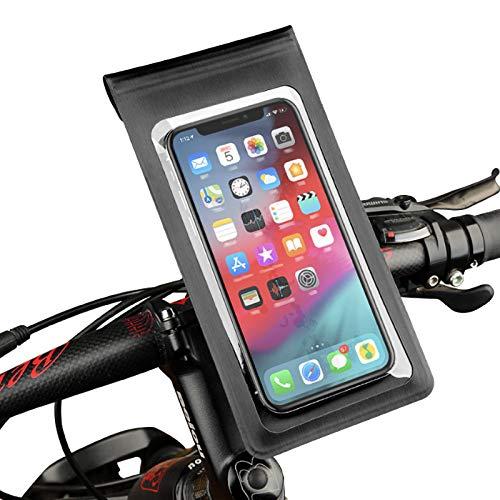 N/Brand Soporte del teléfono móvil para la bici 6 'pantalla 360 ° rotación a prueba de agua desmontable ajustable manillar bicicleta montaje negro fácil instalación