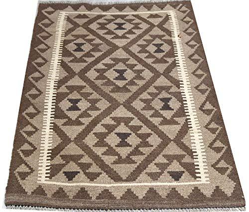 Afghanischer Teppich, dunkler Kelim, braun, beige, mehrfarbig, 100 % Wolle, handgewebt, Tribal-Design, geometrisches Muster, 126 x 83 cm