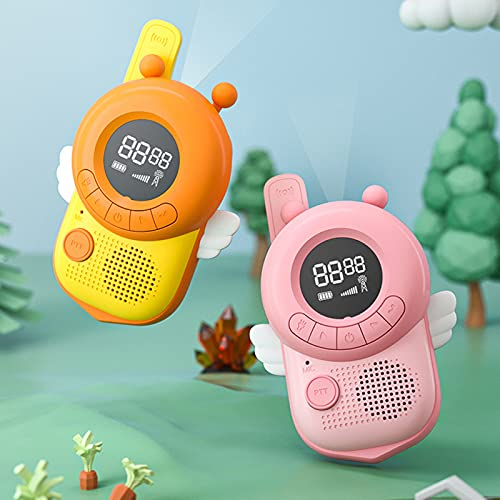 Huaji Paquete de 2 walkie talkies para niños juegos al aire libre inalámbrico mano forma de abeja 3 km juguete interactivo regalo para niños niñas