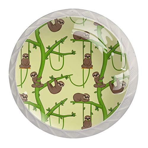Perillas de cajón Tiradores Manija Herrajes de armario Cajones de tocador de vidrio Gabinete de puerta para oficina en casa Armario de cocina Animal Sloth Baby Tree Patern