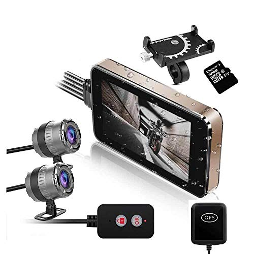 Motorcycle Drive Recorder Camera 1080P Dual Lens Dash Cam Waterproof...