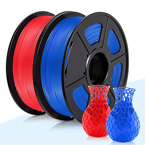3D Warhorse 3D Printer Filament,PLA Filament 1.75mm,1.75 Red & Blue PLA Filament,Dimensional Accuracy +/- 0.02mm,2KG(Spool)