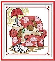 刺繍キットクロスステッチ刺しゅうキット初心者犬を書く最高の刺繡DIYクロスステッチキット(11CT)大人子の針仕事ギフト工芸品ホリデー贈り物家の装飾,40x50cm