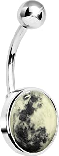Unisex Adult Glow in The Dark Moon Belly Button Ring