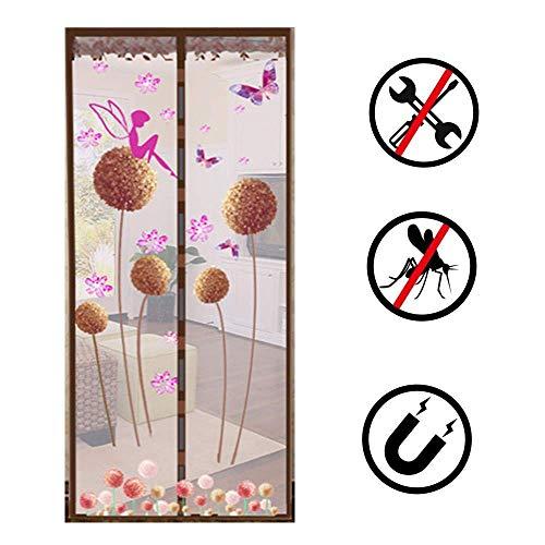 Heavy Duty Magic Tape Mesh gordijn scherm, bescherming tegen insecten, magnetische deuren, mesh, anti-muggengordijn, houdt vliegen en muggen uit je handen vrij, zelfdichtend 90*210cm bruin