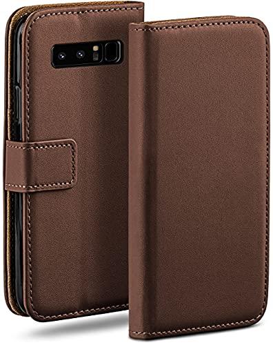 moex Klapphülle kompatibel mit Samsung Galaxy Note8 Hülle klappbar, Handyhülle mit Kartenfach, 360 Grad Flip Hülle, Vegan Leder Handytasche, Dunkelbraun