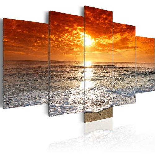 murando Cuadro en Lienzo Lago Naturaleza 100x50 cm Impresión de 5 Piezas Material Tejido no Tejido Impresión Artística Imagen Gráfica Decoracion de Pared Mar Playa 051401