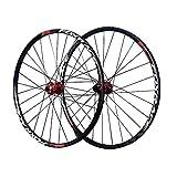 BESTSL Juego de Ruedas de Bicicleta de 26/27.5', (Delantero + Trasero) Juego de Ruedas MTB Llanta Ultraligera de Aleación de Aluminio MTB Freno de Disco 32H 7-11 Velocidades,Red-27.5'