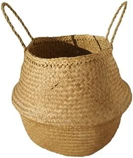 Capazo de Palma Redondo, con asas de pita. Cesto o Bolso de mimbre, fibras naturales, plegable. aprox. 43x40 cm