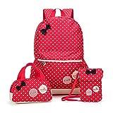 MCUILEE Conjunto de 3 Polka Dot Mochilas Escolares/Escolares Bolsas/Mochila niños niñas Adolescentes + Mini Bolso + Bolso Crossbody (Rojo)