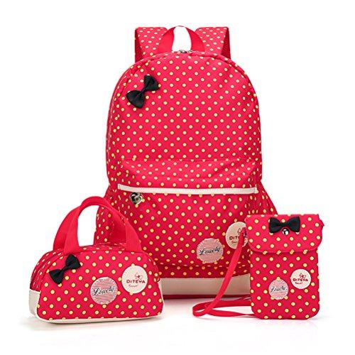 MCUILEE 3pcs Impermeabile Zaino Scuola Elementare per Ragazza+ ragazza borsetta + mini crossbody Borse,Rosso