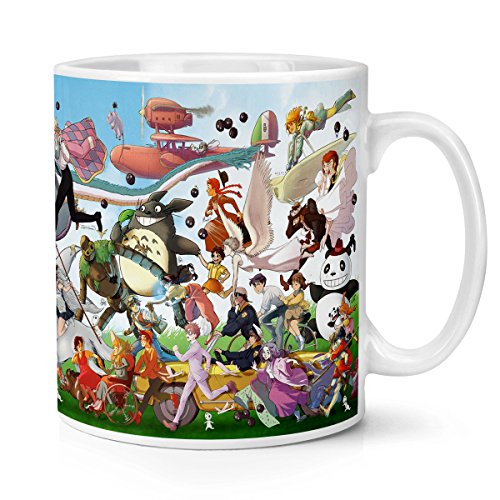 Kanto Factory - Taza con diseño de Ghibli coleccionista de los 30 años del estudio con Mononoke, Chihiro, Totoro, Nausicaä y todas sus demás creaciones.