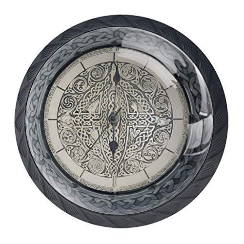 DEYYA 4 Pcs Cool Celtic Crystal Glass Drawer Knob Pull Handle Ergonomic 30mm Circle Furniture Cabinet Handle for Kitchen Dresser Cupboard Wardrobe